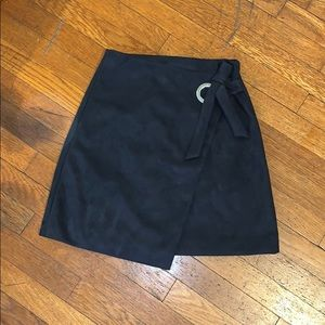 Suede Wrap Mini Skirt